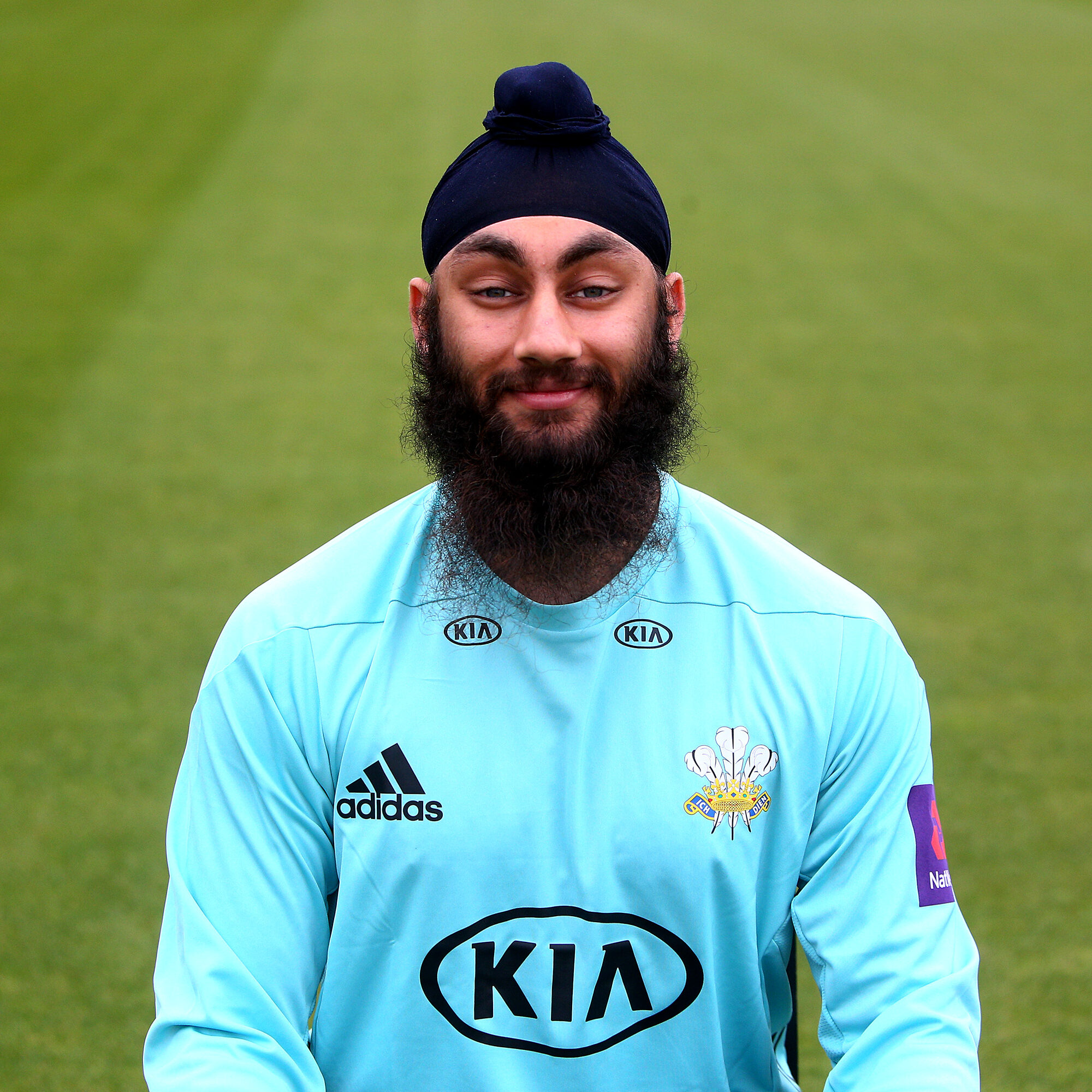 LONDON, ENGLAND - APRIL 04: Amar Virdi poses in the NatWest T20 Blast kit during the Surrey CCC Photocall at The Kia Oval on April 4, 2017 in London, England. (Photo by Charlie Crowhurst/Getty Images)